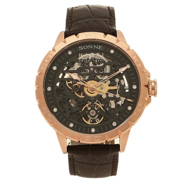 【6時間限定ポイント10倍】【返品OK】ゾンネ 腕時計 メンズ SONNE H023PG-BW ブラウン ブラック ピンクゴールド