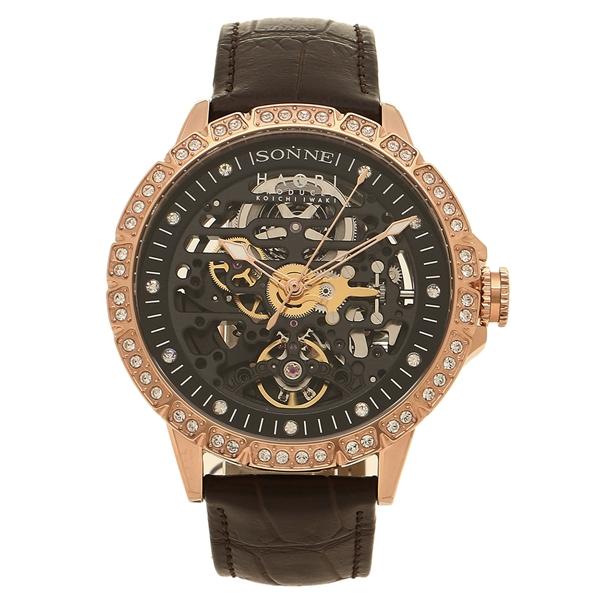 【4時間限定ポイント10倍】ゾンネ 腕時計 メンズ SONNE H023PGZ-BW ブラウン ブラック ピンクゴールド