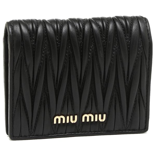 【4時間限定ポイント10倍】ミュウミュウ 折財布 レディース MIU MIU 5MV204 N88 F0002 ブラック