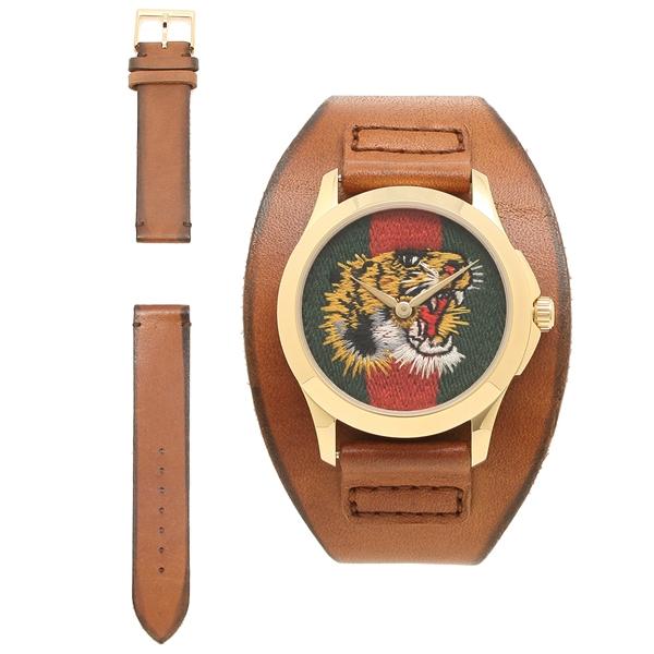 【4時間限定ポイント10倍】グッチ 腕時計 メンズ GUCCI YA126485 ブラウン イエロー レッド グリーン