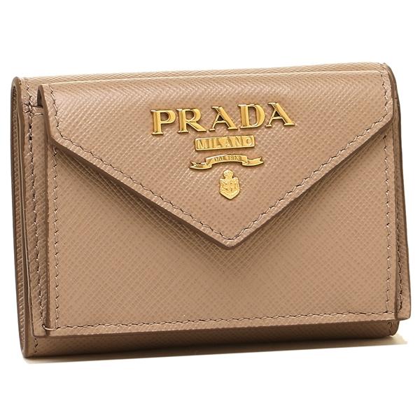 【9時間限定ポイント10倍】【返品OK】プラダ 折財布 レディース PRADA 1MH021 QWA F0236 ベージュ