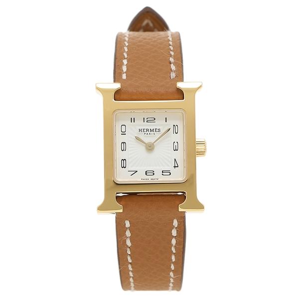 エルメス 腕時計 レディース Hウォッチ HERMES 037893WW00 ブラウン ゴールド