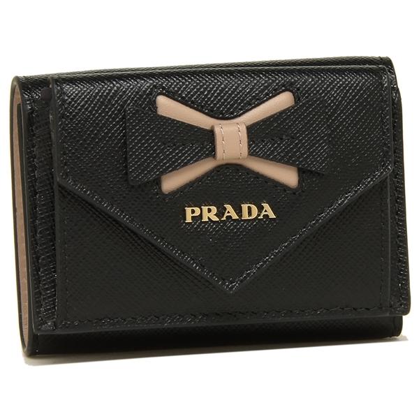 【9時間限定ポイント10倍】【返品OK】プラダ 折財布 レディース PRADA 1MH021 2B7S F0G28 ブラック ピンク
