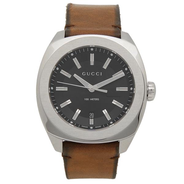 【返品OK】グッチ 腕時計 メンズ GUCCI YA142207 ブラウン シルバー