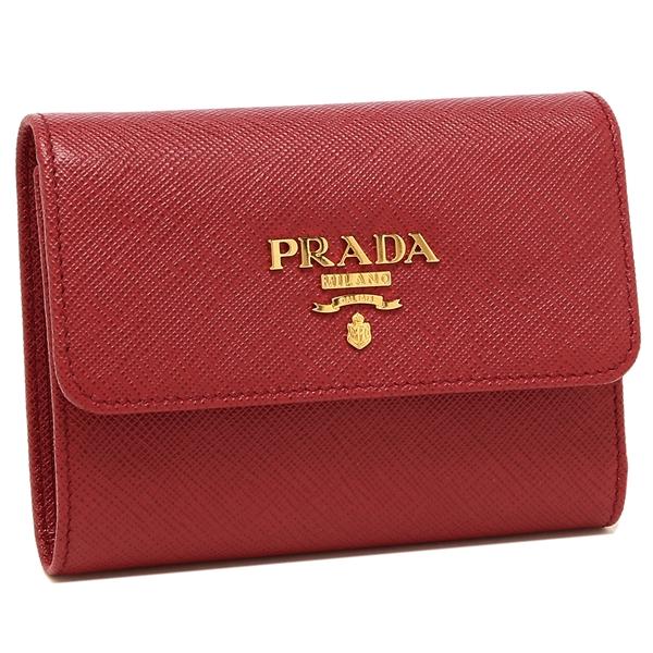 【4時間限定ポイント10倍】プラダ 折財布 レディース PRADA 1MH025 QWA F068Z レッド