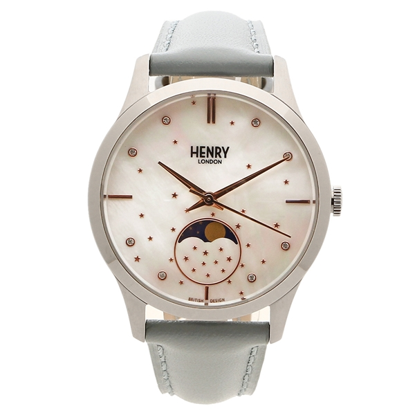 【6時間限定ポイント10倍】【返品OK】ヘンリーロンドン 腕時計 レディース メンズ MOONPHASE ムーンフェイズ 34MM HENRY LONDON HL35-LS-0327 シルバー