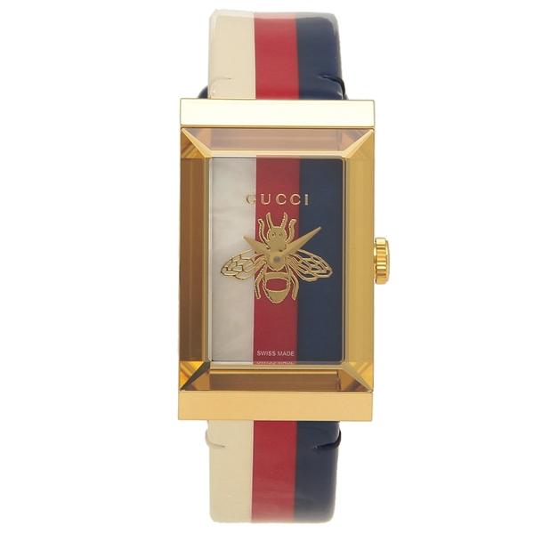 【返品OK】グッチ 腕時計 レディースG-FRAME Gフレーム GUCCI YA147409 ホワイト レッド ブルー