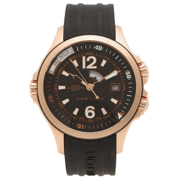 【6時間限定ポイント10倍】【返品OK】ハミルトン 腕時計 メンズ HAMILTON H77545735 42MM ブラック ピンクゴールド