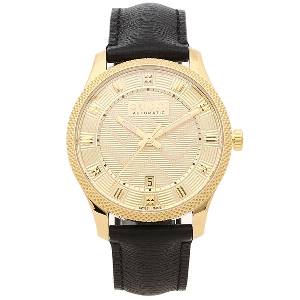 【期間限定ポイント5倍】【返品OK】グッチ 腕時計 メンズ GUCCI YA126340 40MM 自動巻き ゴールド ブラック
