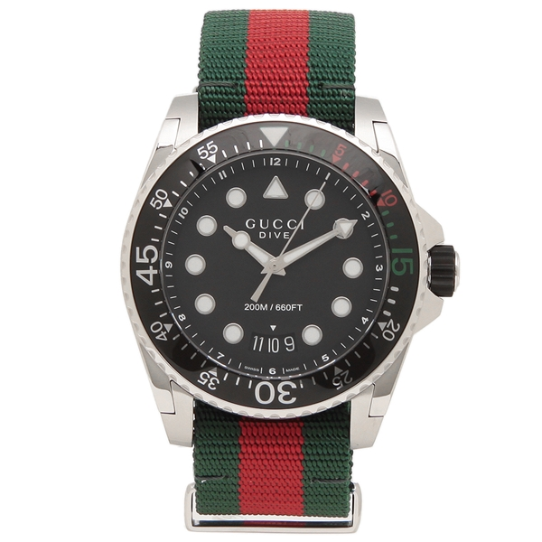 【6時間限定ポイント10倍】【返品OK】グッチ 腕時計 メンズ GUCCI YA136209 45MM グリーン レッド ブラック