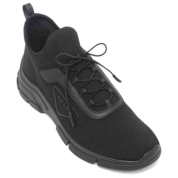 2021春夏新作 ≪30日間返品保証≫ 注目ブランド 4時間限定ポイント10倍 返品OK プラダ スニーカー 靴 ニットファブリック ブラック 2021SS メンズ 4E3572 3KFP 休日 F0002 トライアングルロゴ PRADA