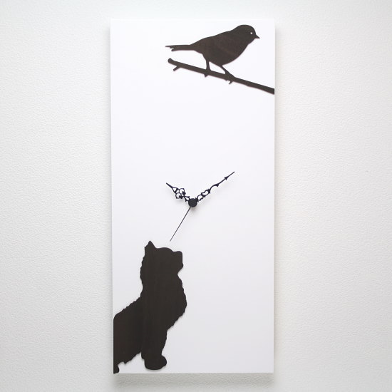 イタリア製アートパネルクロック ホワイト i DETTAGLI 【L'ATTESA】猫 キャット 小鳥 バード アニマル かわいい アートクロック デザイン ウッドパネル 新築祝い 子供部屋 おしゃれ時計 インテリア時計 木製掛け時計
