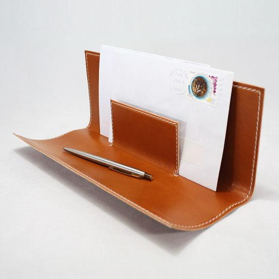 【本革】イタリア製ヌメ革レター&ペンホルダー ARTE & CUOIO 【モンテフェルトロ】オフィス デザイナーズ