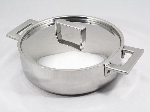 【セール!プライスダウン】 MEPRA【ATTIVA】ステンレス3層鋼ロンドー(浅型両手鍋)24cmフタ付◆IH対応◆