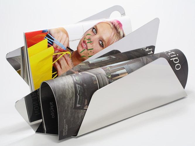 イタリア製 ステンレス製マガジンラック ELLEFFE DESIGN 【DESIGN-AB070】クールアイテム リビング メタル 無機質 ブランド 高品質 アート オブジェ デザイン
