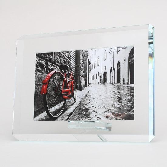【イタリア製】美しいガラス製フォトフレーム OMODOMO 【KONTRA】横置き用ナチュラルでシンプルモダンなデザインの写真立て。新築祝い・出産祝い・結婚祝い・誕生日プレゼントにおすすめです。