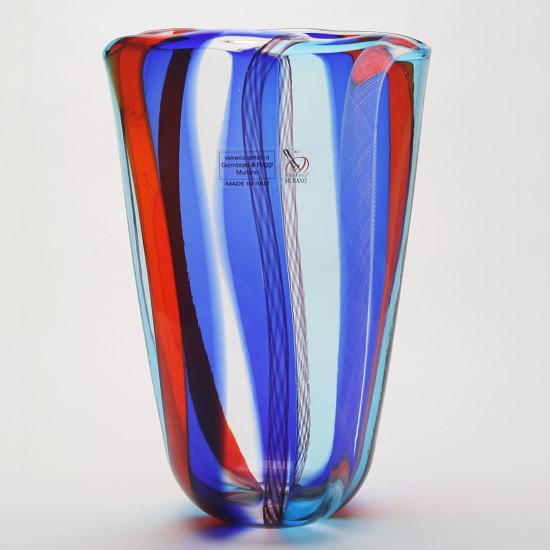 ベネチアングラス・ムラーノグラスの花瓶 Gambaro & Poggi 【PICCININ A CANNE-1734C】ブルー(花瓶/ヴェネチア/おしゃれ/モダン/ガラス/新築祝い/開店祝い/結婚祝い)