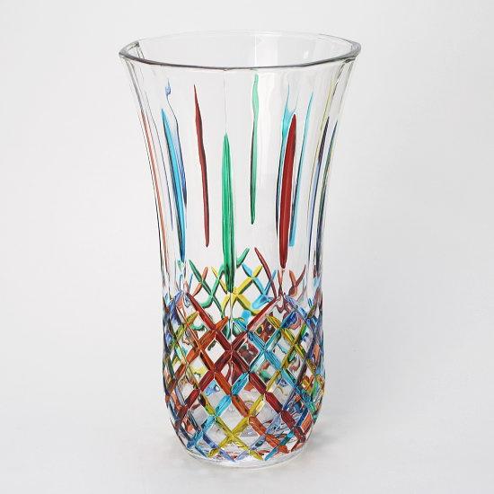 【イタリア製】上品なカットデザインが美しいガラス製フラワーベース ZECCHIN 【OPERA】