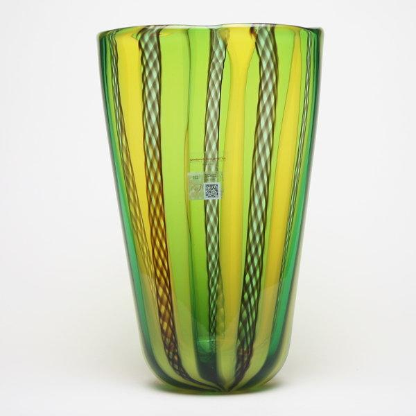 ベネチアングラス・ムラーノグラスの花瓶 グリーン&イエロー GAMBARO & TAGLIAPIETRA【LIRI A CANNE-1734A】