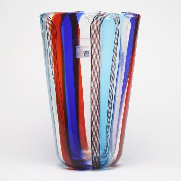 ベネチアングラス・ムラーノグラスの花瓶 ブルー&レッド GAMBARO & TAGLIAPIETRA【LIRI A CANNE-1734C】