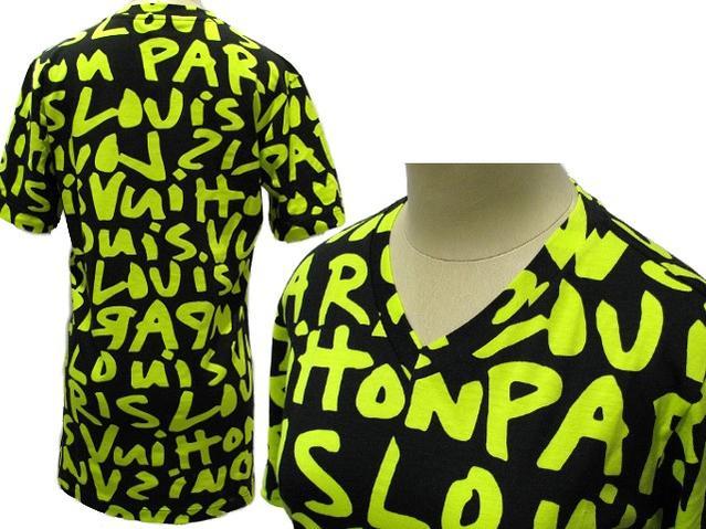 LOUIS VUITTON 한정 반 소매 T 셔츠 그래피티 블랙/그린 732797 루이비통 LV V 넥 여성