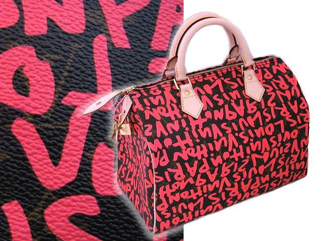 1 Louis Vuitton Limited Edition Graffiti Sdy 30 M 93704 Pink Lv Stephen Sprouse Boston Bag Fs3gm In An Rakuten