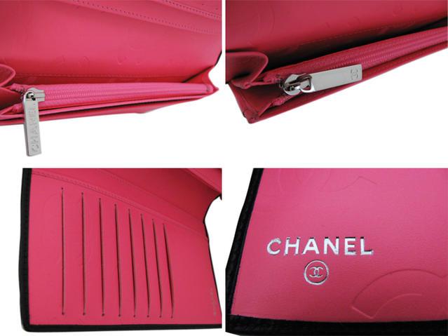 ○ CHANEL A26717 Y03880 C2054 캔 본 라인 샤넬 장 지갑 블랙 × 블랙 cc에 핑크