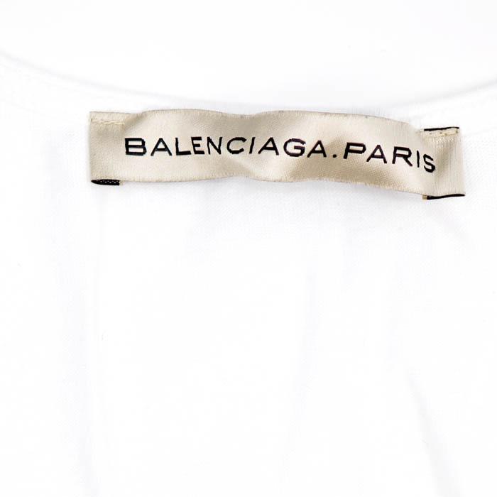 BALENCIAGA 바렌시아가탄크툽 T셔츠 174963 TM912 9007 화이트목 블루 트리 프린트 레이디스 히트 상품