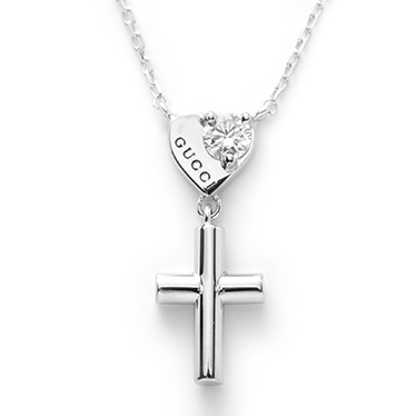 2c394e93d GUCCI Gucci 272766-J8540/9066 necklace pendant heart cross k18WG/ diamond  (0.10 ...