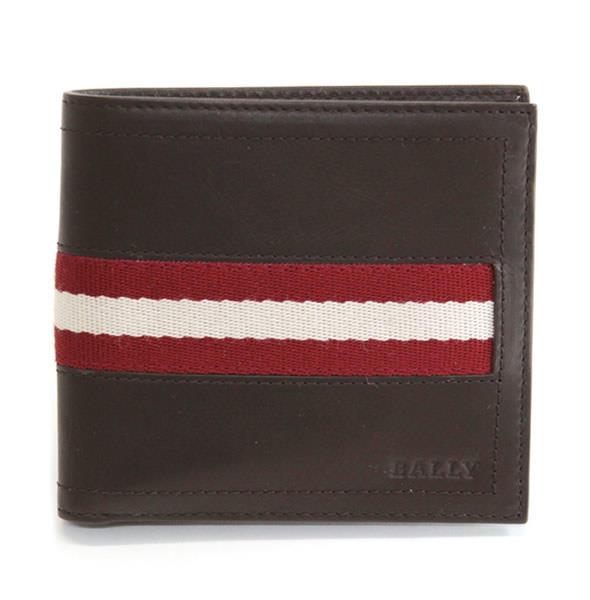 バリー TYE 271 CHOCOLATE 小銭入れ付 二つ折り財布 型押しカーフ【r】【新品・未使用・正規品】