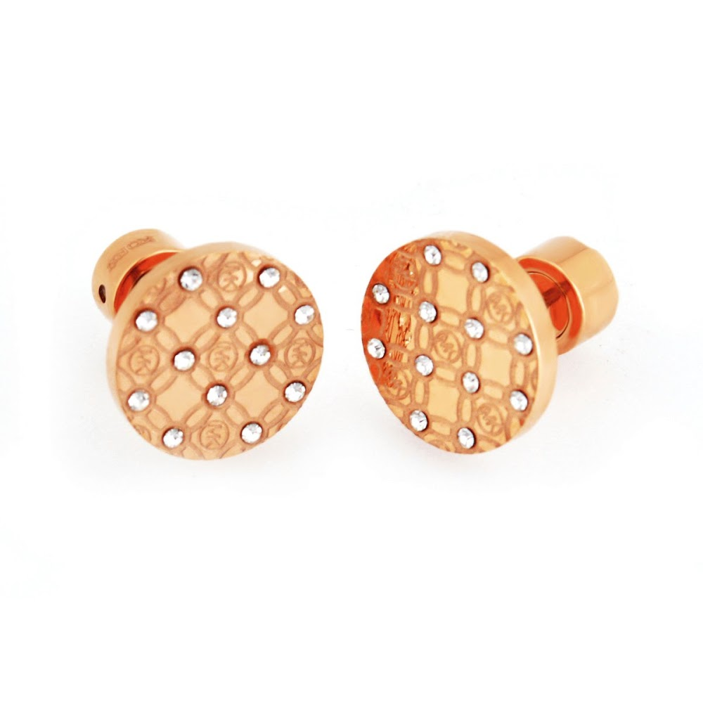 f7ea55021 Michael Kors MICHAEL KORS MKJ4277791 Pave Rose Gold-Tone Heritage Etched  Monogram Stud Earrings パヴェ ...