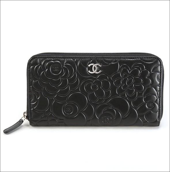 36c42a137ee54b Chanel CHANEL 50085 Y01480 C0790 NOIR ARGENT Camellia Coco mark Emboss  embossed lambskin zip around wallet