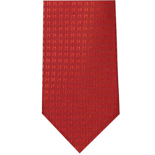 HERMES 에르메스 넥타이 H 쟈 가드 무늬 실크 바이 컬러 보르도 × 레드 핑크 계 H038188T 29