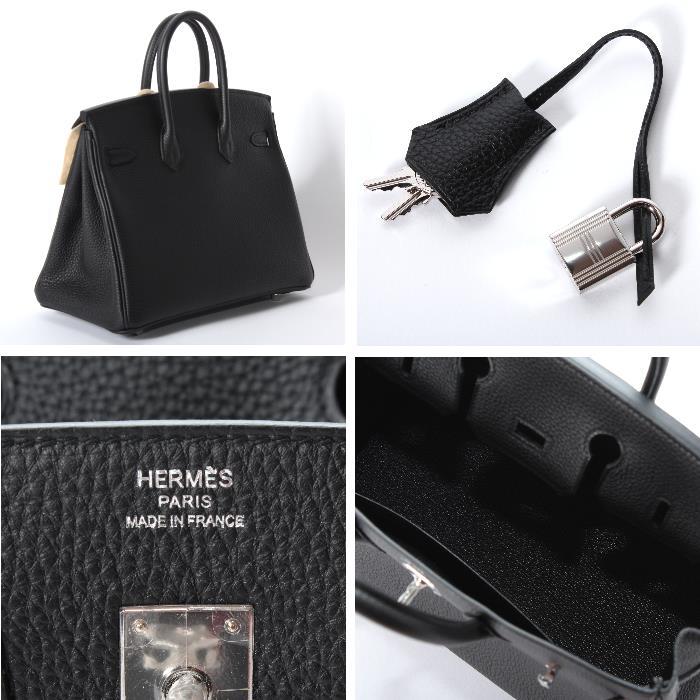 Hermes Birkin 25 Cm There Silver Bracket By 2017 Making Bag Rare Black Togo Leather