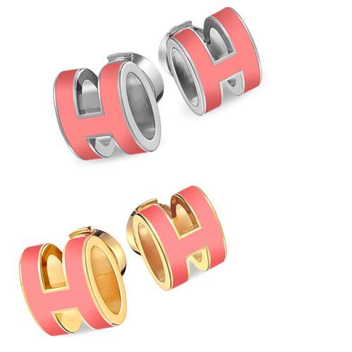 Hermes Earrings Pink Pop H Ash H608001fp34 Silver H608001f34 Gold
