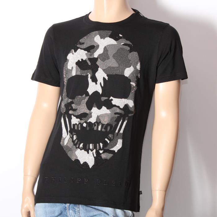 【決算セール】PHILIPP PLEIN フィリッププレイン 半袖Tシャツ HM347051 BLACK ブラック 迷彩柄ラインストーンスカル メンズ 【新品・未使用・正規品】【売れ筋】