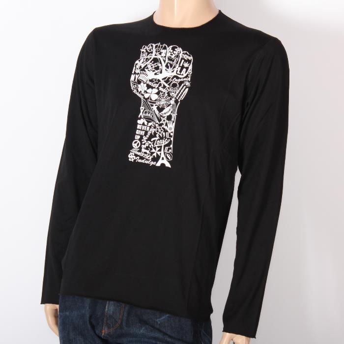 【決算セール】LUCIEN PELLAT-FINET ルシアンペラフィネ 長袖Tシャツ ブラック EVH1768 BLACK スカル ヘンプ ピース ロンT メンズ 【新品・未使用・正規品】売れ筋