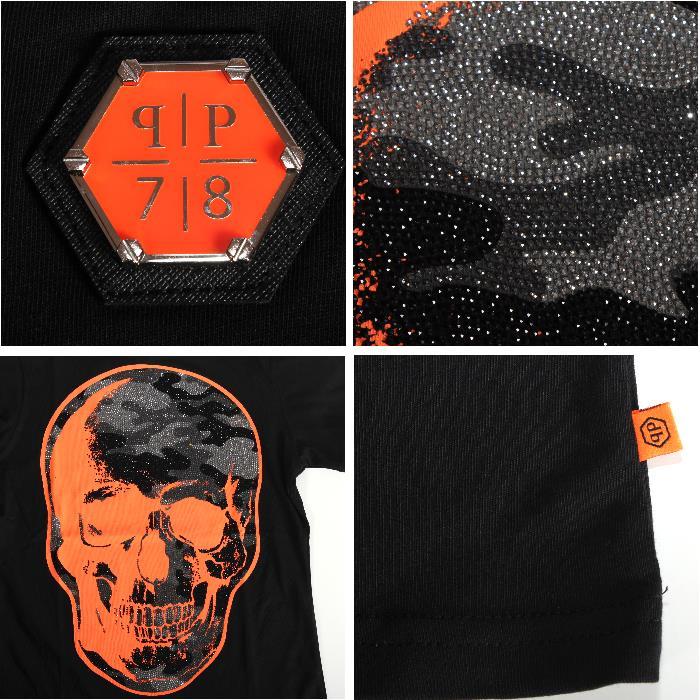 PHILIPP PLEIN 피립프레인 반소매 T셔츠 HM340756 0220 블랙×오렌지 미채무늬 라인 돌 스컬 맨즈 히트 상품