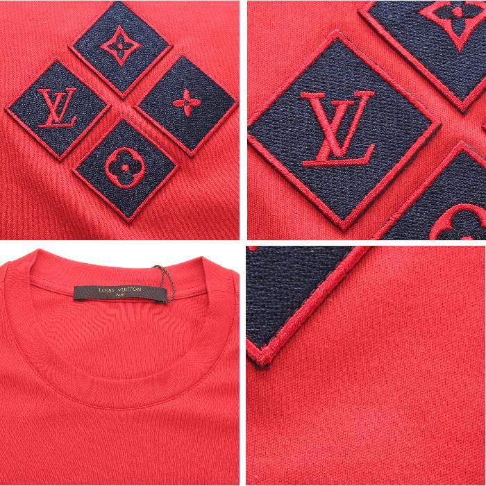 LOUIS VUITTON 루이비통 2016/17 AW가을과 겨울 신작 반소매 T셔츠 레드가슴 헝겊 로고 1 a1005 맨즈 컬렉션 히트 상품