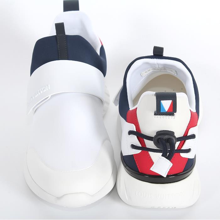 포인트 5 배! LOUIS VUITTON 루이비통 월드컵 한정 보트 레이스 라인 습식 슈즈 화이트 1A1BKS 벨크로 스 니 커 즈 슬립 갑판 신발 남성 신발 히트 상품