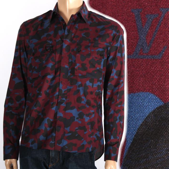 Louis Vuitton Limited Long Sleeves Shirt Red Camouflage 1a10tg Military Safari Men Collection