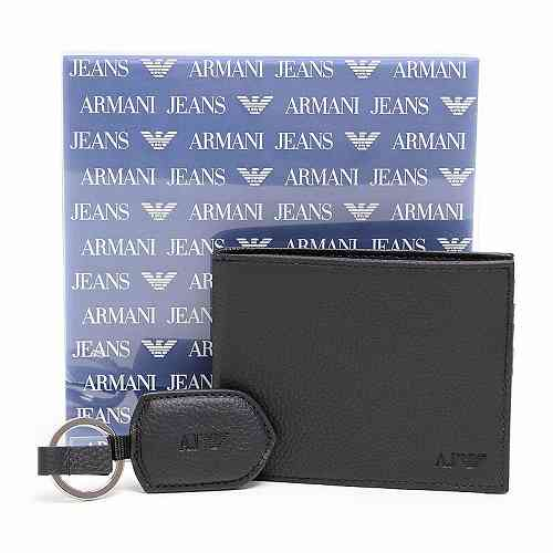 アルマーニジーンズ ARMANI JEANS 937502 CC992 00020 NERO 二つ折り財布・キーリングセット ブラック【c】【新品・未使用・正規品】