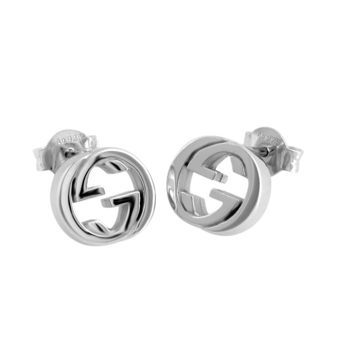 Gucci 356289 J8400 0702 Interlocking G Stud Earring Silver