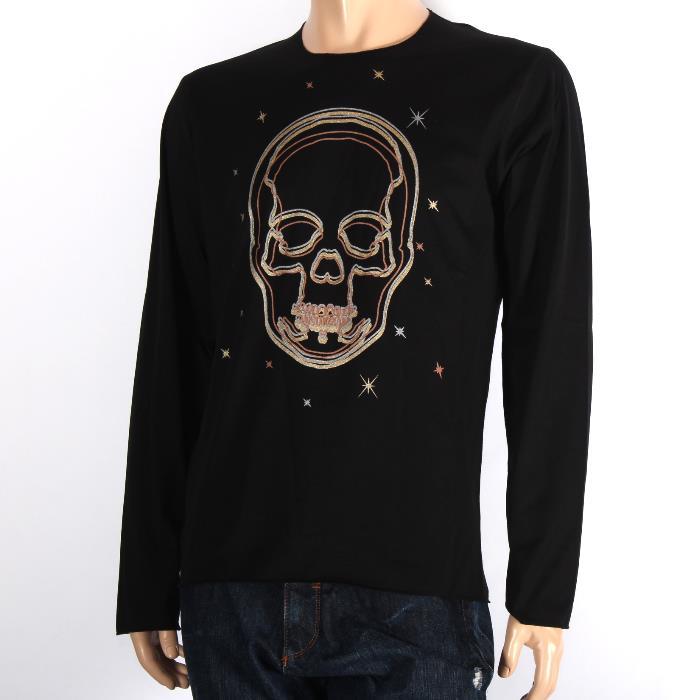 【決算セール】Lucien PELLAT-FINET ルシアンペラフィネ 長袖Tシャツ ブラック EVH1864 BLACK スカル ロンT メンズ 【新品・未使用・正規品】【売れ筋】