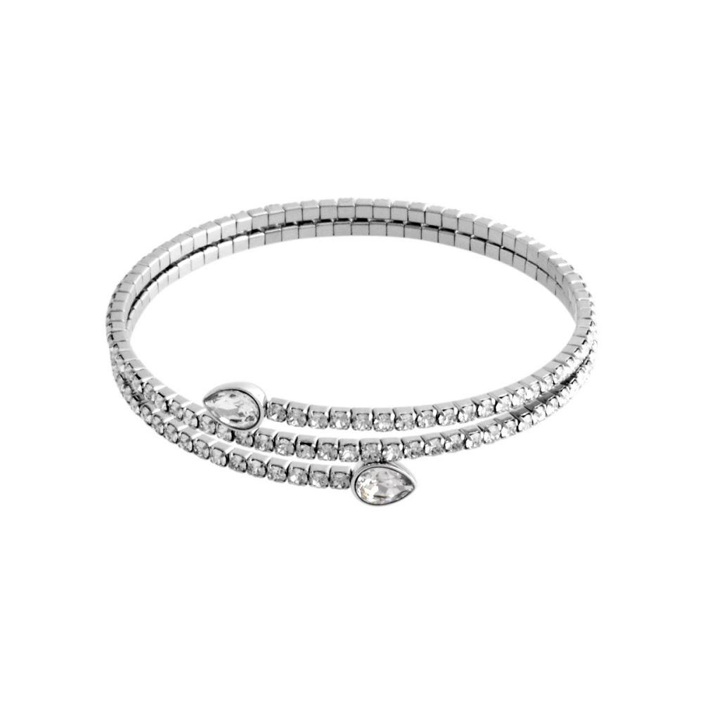 Swarovski 5073592 Twisty Cuff Drop Pear Crystal Pavé Spiral Bangle Bracelet