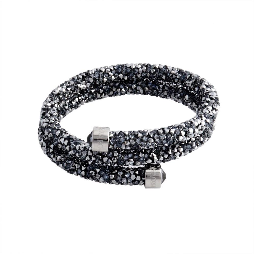 66f84aff7ace Swarovski SWAROVSKI 5255898 Crystaldust Double Gray crystal lock spiral bangle  bracelet small size