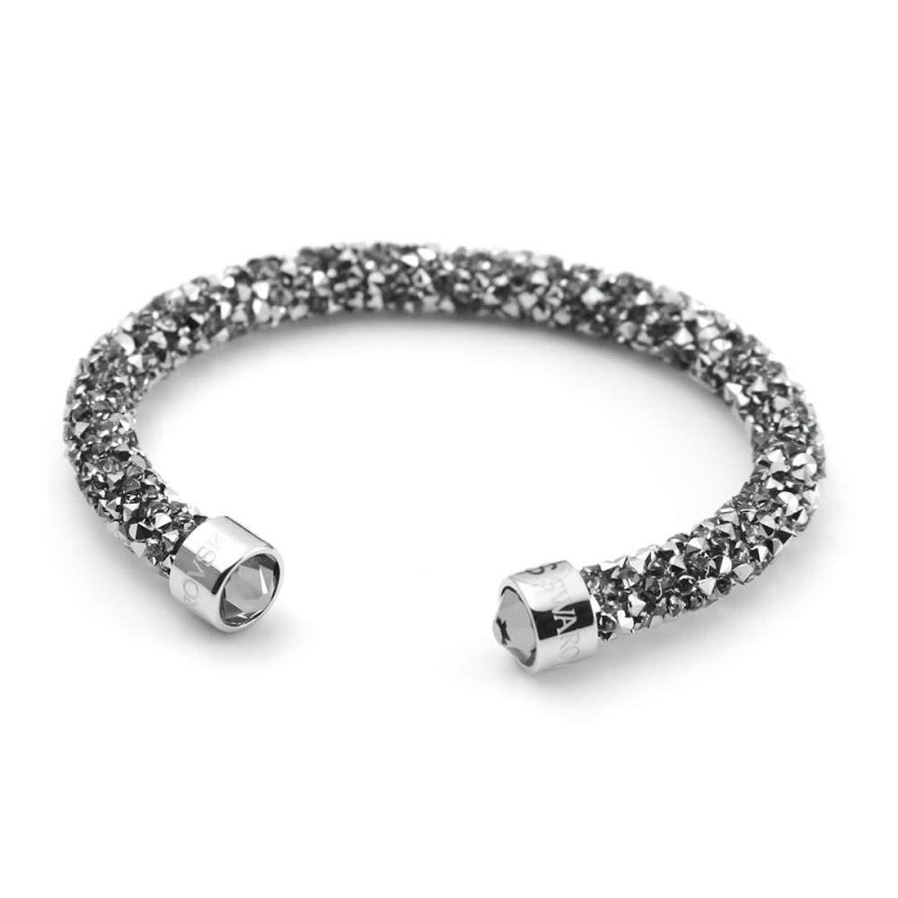 Swarovski 5255912 Crystaldust Gray Crystal Lock Cuff Bangle Bracelet Size S