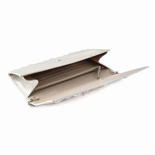 jimichu JIMMY CHOO MILLA/GTR 120011 CHAMPAGNE sutasutazzuchienshorudasutorappu在的对开长钱包离合器袋