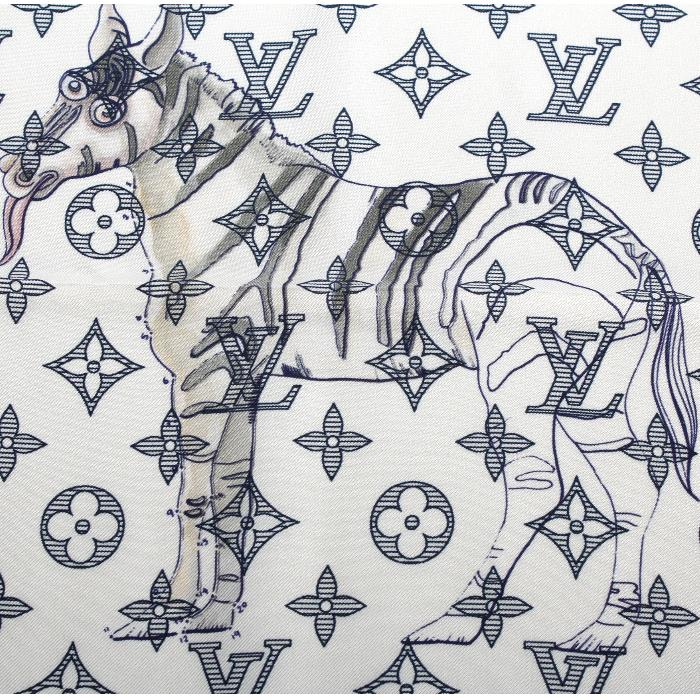LOUIS VUITTON 루이비통 한정 포켓 치프 MP2056 쁘띠 스카프 화이트 모노그램 zebra 애니멀 체프 맨