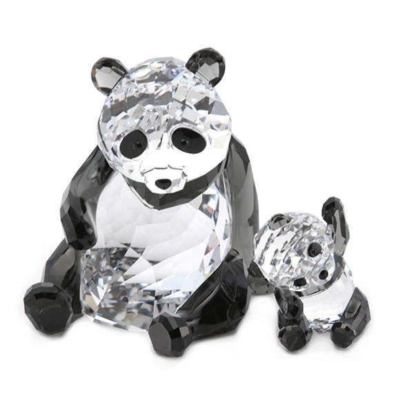 スワロフスキー Panda Mother With Baby 親子パンダ ハートフル クリスタルフィギュア クリア/ブラック 5063690【r】【新品/未使用/正規品】